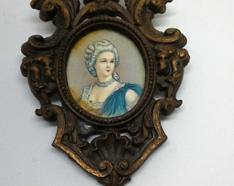 Print miniature-frame -metal Small antique-furniture-printing from small painting-decor