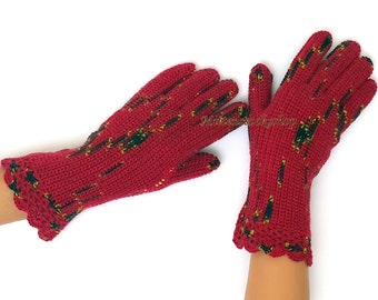 Red Black Yellow Gloves with fingers Red Black Women's Gloves with Fingers Girl's Finger Gloves Fingerless Gloves Wrist Warmers Knit Gloves