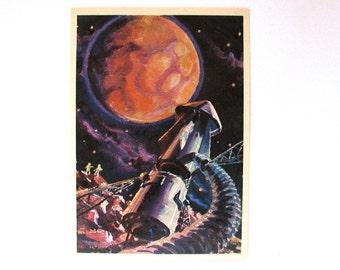 Space, Unused Postcard, On satellite of Mars, Cosmonaut, Sokolov, Leonov, Illustration, Unsigned, Rare Soviet Vintage Postcard, USSR, 1975