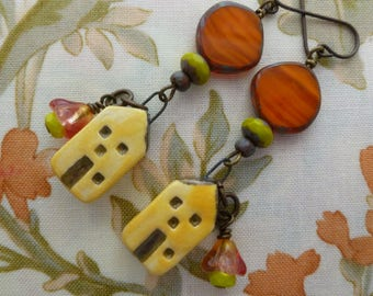 Sunrise Over The Village, Whimsical Ceramic House Charm Dangles, Happy House Earrings, House Warming Gift, LindsayDrakeBeads, Northernblooms