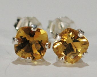 Yellow Citrine Earrings~.925 Sterling Silver Setting~5mm Cushion Cut~Genuine Natural Mined