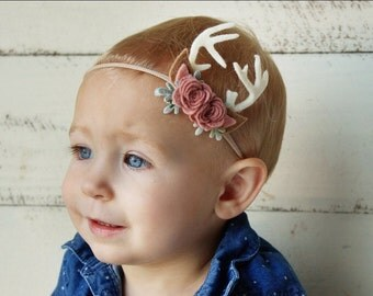 Deer Headband, Felt Flower Headband, Felt Flower Crown, Newborn Felt Headband, Smash Cake, Floral Antler Crown, Antler Headband