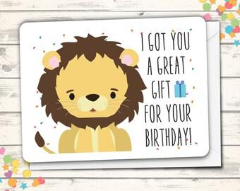 Happy Birthday Card, Lion Pun Card, Clever Card, Funny Lion Pun Birthday Card, Cute Birthday Card, Birthday Greeting Card, Kawaii Lion