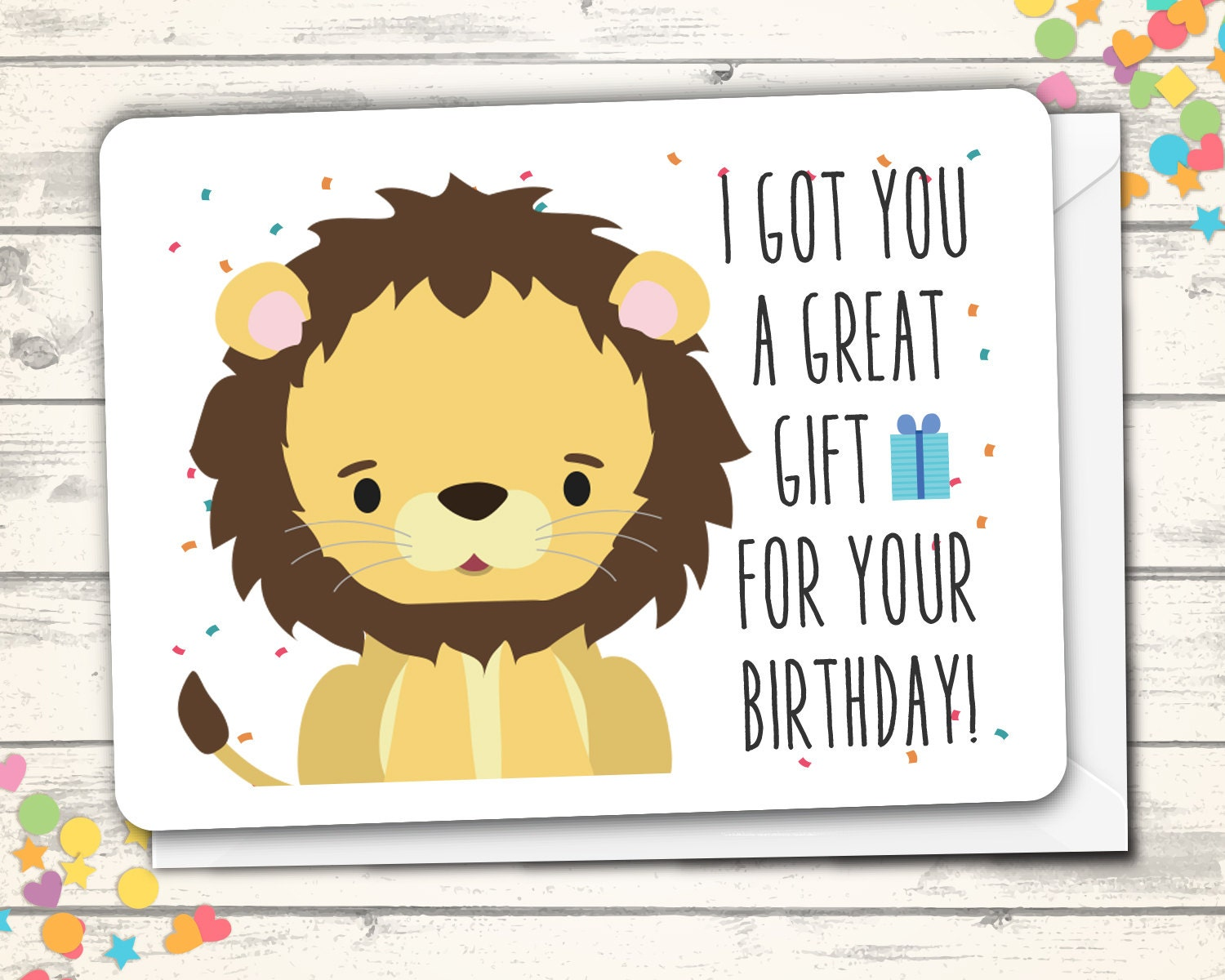 Happy Birthday Card Lion Pun Card Clever Card Funny Lion – Cute Birthday Greeting Cards