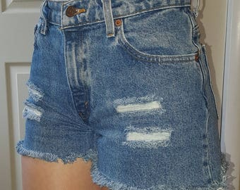 HIGH WAIST LEVI'S Vintage Jean Denim Shorts Destroyed Distressed Frayed All Sizes 24 25 26 27 28 29 30 31 32 33 34 35 36 37 38 Authentic
