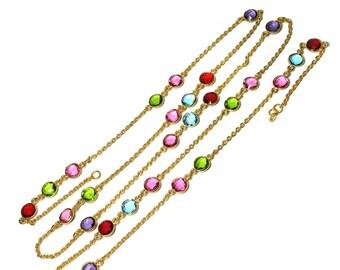 Chain necklace, 14 karat gold plated necklace with multi color quartz, bezel long chain necklace, multi color chain, double string necklace
