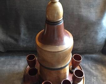Vintage teak wood decanter and shot glass glasses set