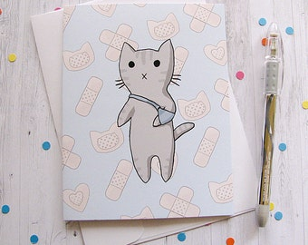 Get Well Card Cat Card Splint Arm Cat Boo Boo Kitty Injury Well Wishes Get Well Soon Greeting Card Cute Cat Card Sick Child Illness