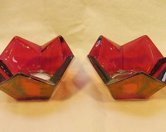 vintage ruby red glass candle holder pair set geometric zigzag red zig zag candle holders 1980's