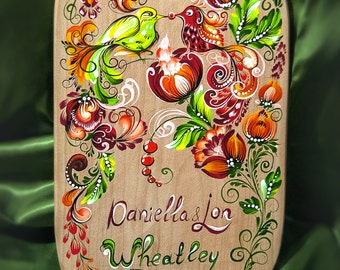 Personalized cutting board painting bird cooking custom wood board wall decor personalized gift chopping kitchen hand painted shelf decor