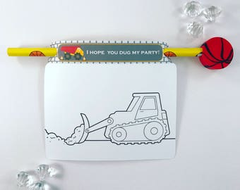 Construction colouring card and pencil holder