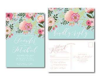 Floral Wedding Invitation Suite, RSVP Postcard, Wedding Invite Suite, RSVP Card, Boho Invitations, 2 Piece Wedding Suite #CL336