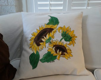 Sunflower Pillow Sham Hand Painted French Farmhouse Decor Country Cottage