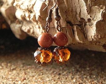 Brown Copper Earrings Bohemian Earrings Crystal Earrings Simple Brown Earrings Brown Glass Earrings Brown Copper Jewelry Glass Bead Earrings