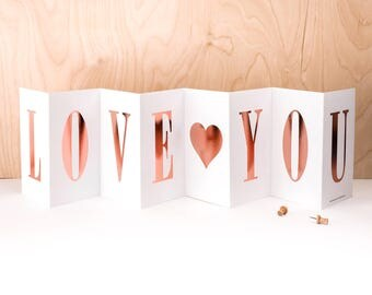 Love You Concertina Card; Rose Gold Foil Card; Love Banner Card; Anniversary Card; Rose Gold Foil Birthday Card; Personalised Card; CC021