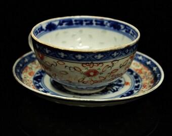 Antique original asian handmade chinese amazing porcelain cup