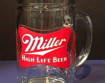 Vintage Large Miller High Life Glass Mug