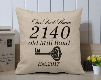 """Housewarming Gift - Our First Home Pillow Cover - Personalized Address Cushion Cover - Burlap Pillow Case - New Home Housewarming Gift - 18"""""""