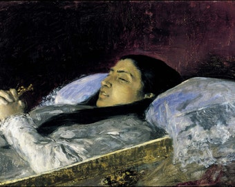 Mariano Fortuny: Miss Del Castillo on her Deathbed. Fine Art Print/Poster. (004015)