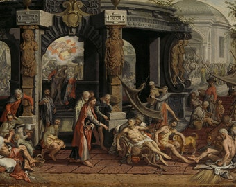 Pieter Aertsen: The Healing of the Paralytic, Pool of Bethesda. Fine Art Print/Poster. (004031)