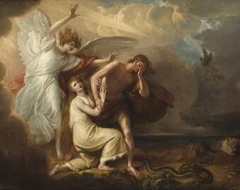 Benjamin West: The Expulsion of Adam and Eve from the Garden of Eden. Biblical Fine Art Print/Poster. (004070)