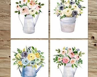 Floral art modern artwork, Wildflower Bouquet Nursery flower print, Printable floral Decor, nursery decoration, garden flower print set 6-26