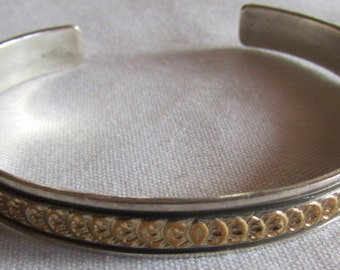 Sterling Silver and Gold Tone Navajo Cuff Bracelet