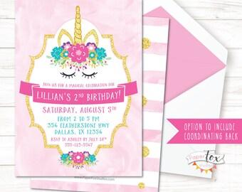 Unicorn Birthday Invitation, Unicorn Invitation, Unicorn Birthday, Unicorn Party, First Birthday Invitation, Gold Unicorn, Pink and Gold