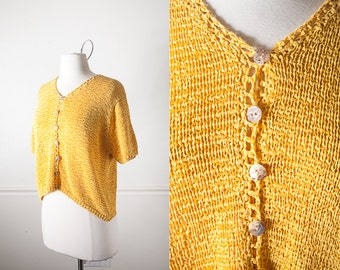 Mustard Yellow Cropped Sweater, Vintage 80s Yellow Cardigan, 80s Sweater, 80s Top, Yellow Top, Cropped Yellow Sweater, Minimalist Clothing