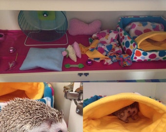 Custom made to order deluxe african pygmy hedgehog liner set (liner, cube, snuggle bed, pouch, tunnel, and lap pad with snuggle pocket)