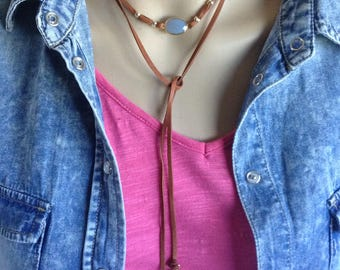 Gemstone and Leather Wrap Necklace