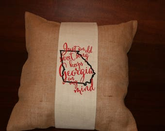 Embroidered Georgia on My Mind Pillow Wrap