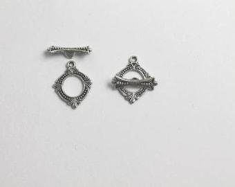 Necklace Clasp, Bracelet Clasp,Toggle Clasp, Small Clasp, Antique Silver Clasp (5pcs)