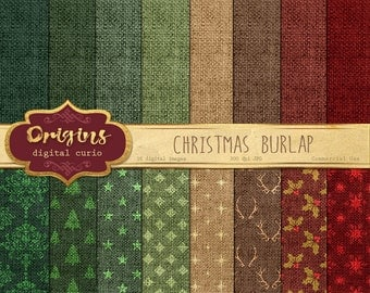 70% OFF Christmas Burlap Digital Paper - Linen Natural Backgrounds, Textures, Holiday Digital Scrapbook Paper Pack Instant download