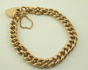 Antique 9ct rose gold chain bracelet with heart padlock great condition 13.1gram
