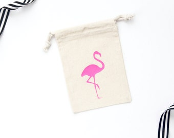 Flamingo Bachelorette Party Favor - Bachelorette - Bachelorette Party - Favor Bag - Muslin Bag - Let's Flamingle - Flamingo Bachelorette
