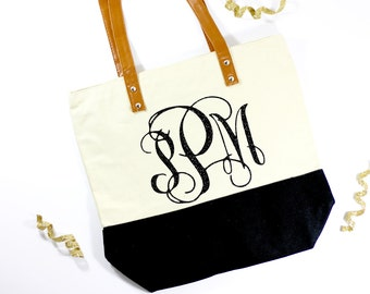 Monogram Tote - Wedding Monogram Tote - Monogram Bag - Wedding Gift Bride Tote - Mrs. Bag - Honeymoon Bag - Mrs. Tote - Future Mrs Gift