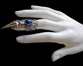 Claw Ring Gothic Jewelry Goth Dark Blue Silver Vampire Witch Finger Armor Dark Romanticism Jewellery Witchcraft
