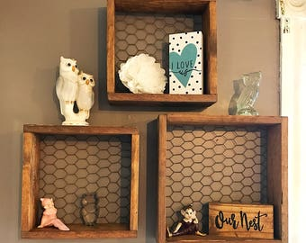 Handcrafted Recycled Pallet Wood Chicken Wire Shadow Box Style Shelves