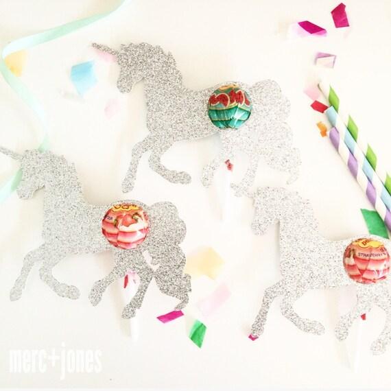 Glitter Unicorn Lollipop Chuppa Chup holders | Party Favor Gifts | Set of 8 | Lollipop Tag | Lollipop Gift