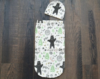 Swaddle Cocoon, Baby Swaddle Sack, Baby Swaddle Cocoon in Woodland Bear, Woodland Swaddle, Swaddle Cocoon and Hat