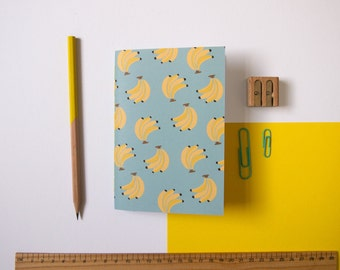 A6 Notebook / Blue Banana Notebook / Fruity Stationery / Pocket Notebook / Cute Stationery / Small Notebook / Gifts for Her