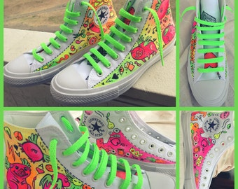 Neon hand pained converse shoes