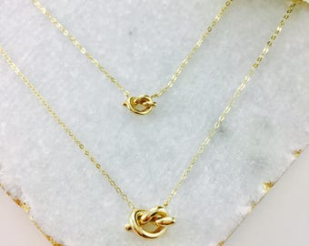 Trendy 14K solid gold 3D love knot pendant tied knot necklace LOVK-N1004