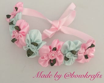 Pink and mint flowers hair bun wreath