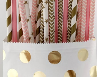 25 Pink & Gold Paper Straws - Stripes, chevron, dots, stars