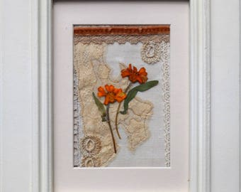 Handmade Vintage Textile Flower and Embroidered Lace Mixed Media Picture