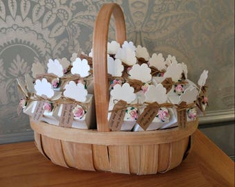 30 confetti cones, filled with natural biodegradable rose petal confetti in a rustic natural basket with personalised tag