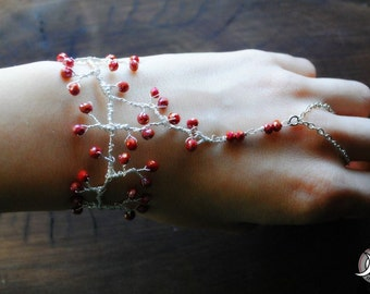"Bracelet with ring ""Branch in bloom"""
