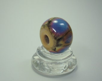 Purple Yellow Big Hole Bead, Handmade Lampwork Bead, Large Focal With Rustic And Organic Feel, Large Hole Frit Bead, Ready To Ship.
